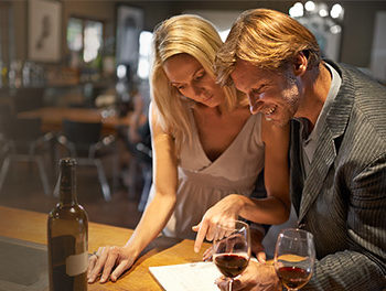 Couple having a glass of wine