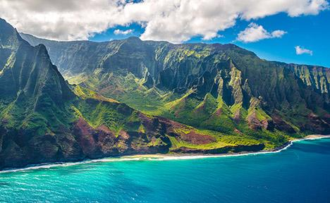 Mountain and beach in Hawaii