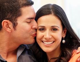 diverse couple kissing