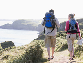 over 40 couple hike together