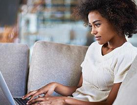 single woman on laptop