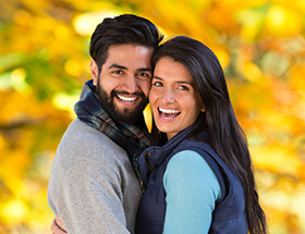 indian couple in the park