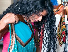 indian woman picking sari
